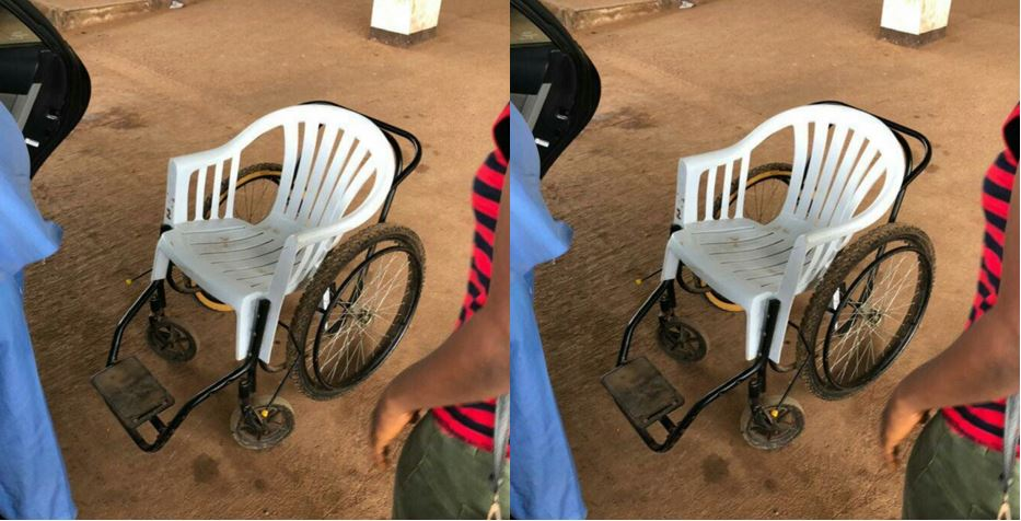 Photo of the Day: Plastic Chair allegedly used as Wheelchair at emergency unit of Nigerian Hospital