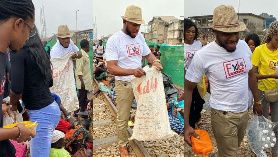 Photos of BBNaija's Frodd as he feeds 500 less privileged kids