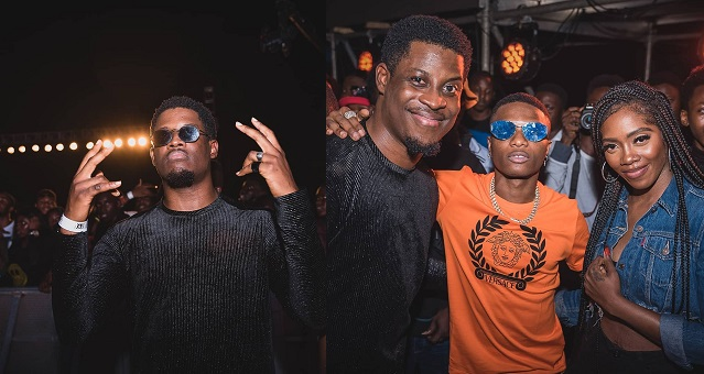 #BBNaija: Seyi gets excited as he poses with Wizkid and Tiwa Savage (Photos)