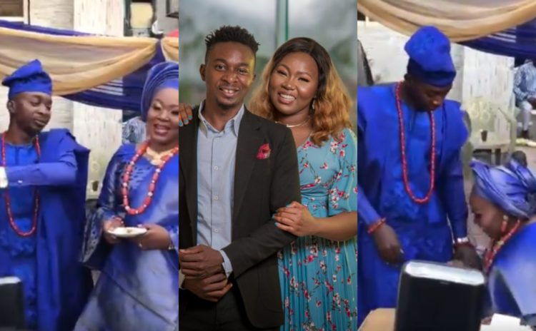 Yoruba bride appreciates her man for stopping her from kneeling for him during traditional wedding (Video)