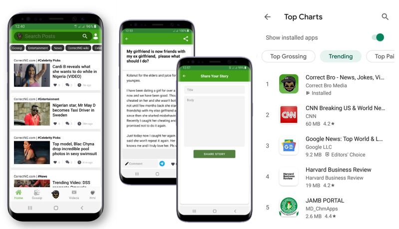 Correct Bro Mobile App tops Google's Playstore Top Trending Chart just 2 days after it was launched