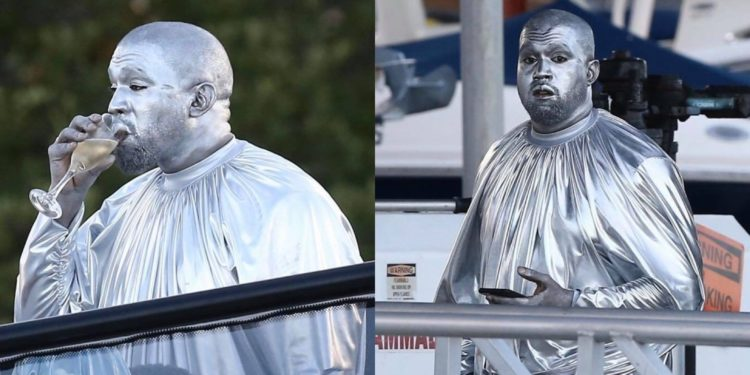 Kanye West becomes paints his body silver to perform the birth of Jesus Christ (Photos)