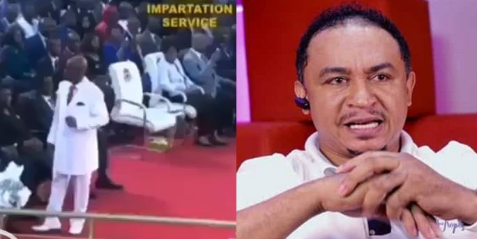 Daddy Freeze reacts as Pastor Oyedepo shares testimony of how his picture spoke in tongues to save a woman who was kidnapped