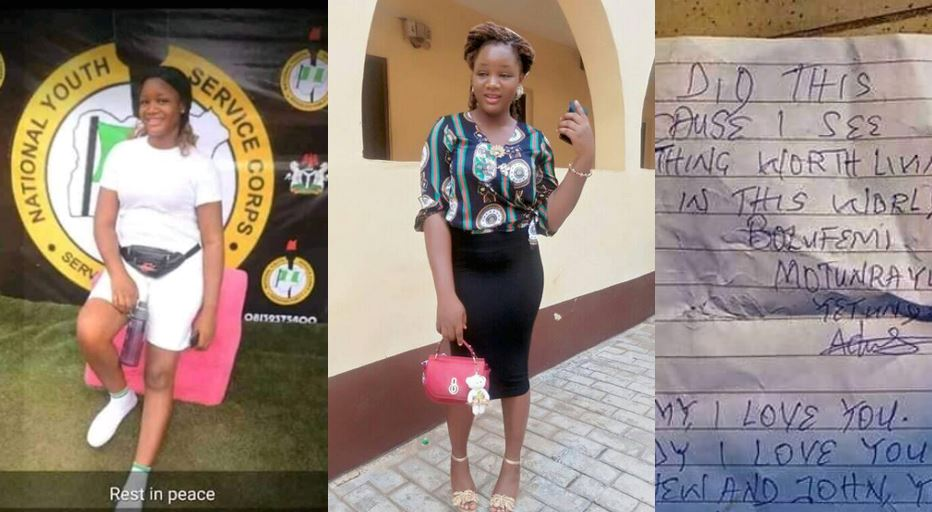 Young female youth corper commits suicide, see the note she left