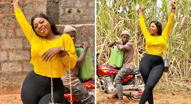 Bike man loses focus as Destiny Etiko's curve leaves him mesmerized (See Photos)
