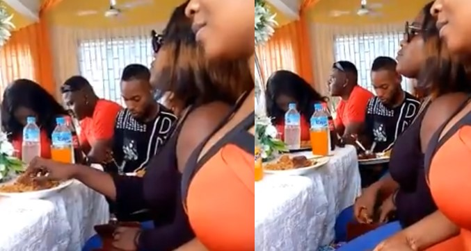 Video: Lady seen putting pieces of meat into her purse at a party