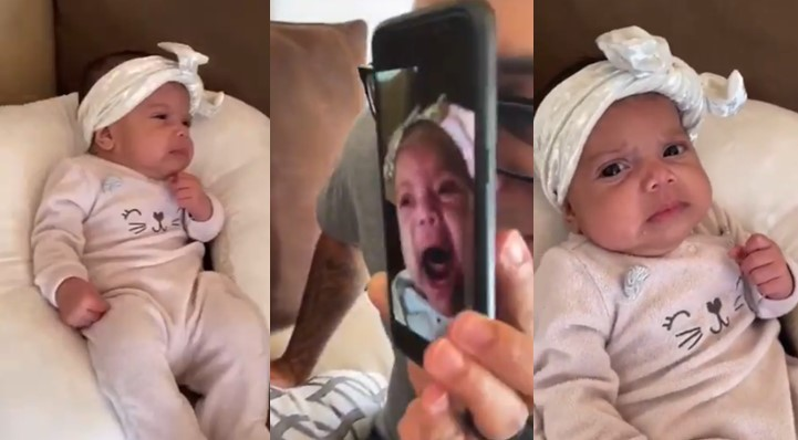 Funny Video: Baby looks shocked as she's shown a clip of herself crying aggressively