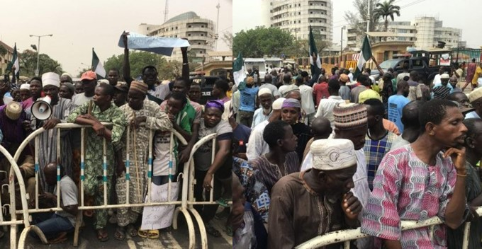 Video: Beggars demand fair treatment as they protest at Sanwo-olu's office and Lagos State Assembly