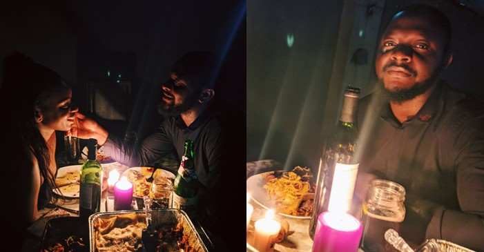 Young married couple celebrate three years anniversary with romantic candle light dinner at their backyard (Photos)