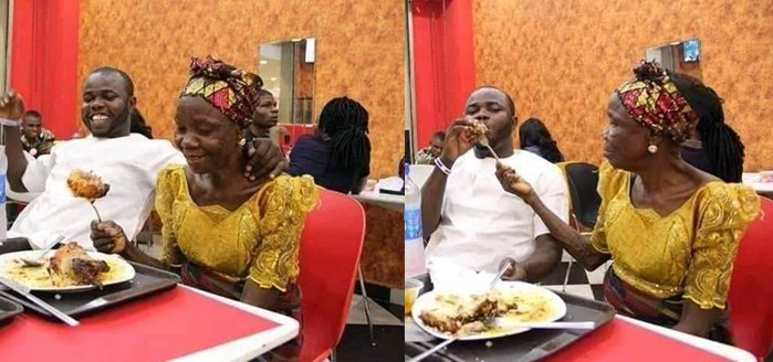"""""""Take your mom out this Valentine"""" – Nigerian man says as he pampers his beautiful mother with a special treat (Photos)"""