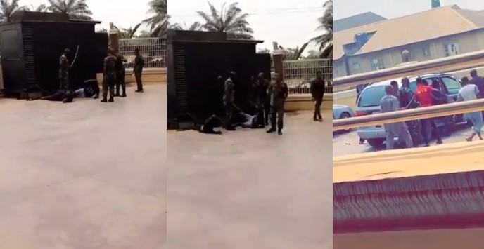 Soldiers flog SARS operatives mercilessly for trying to raid a Colonel's hotel (Videos)