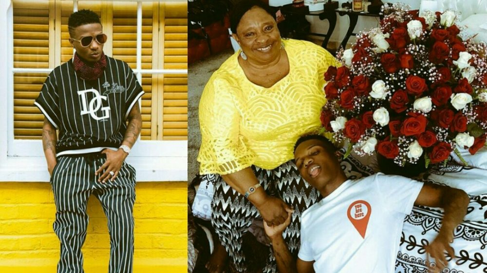 Wizkid gives his mother 100 Roses on Valentine's day