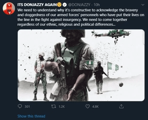 Don Jazzy's tweet