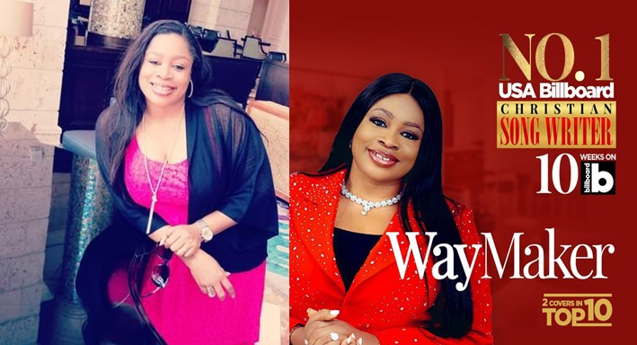 "Gospel singer, Sinach maintains number 1 spot on Billboard USA for ""Christian Songwriter"" category"