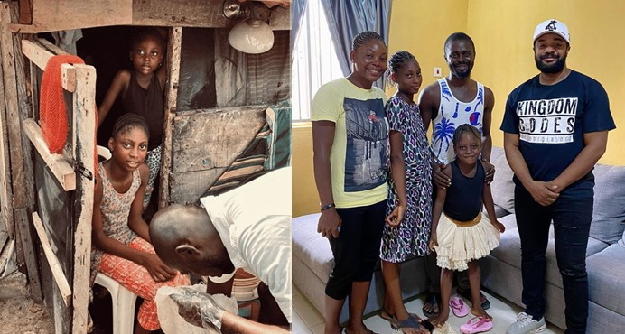 Williams Uchemba fulfills promise, builds house for a family living in a slum (Photos/Video)