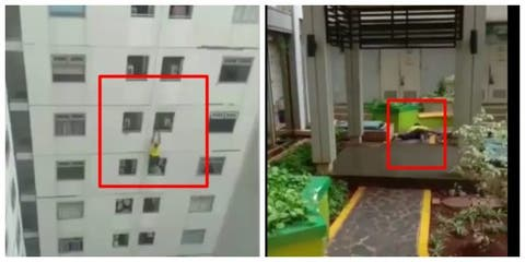 WATCH: Indonesia-based Nigerian man escapes death despite falling from 9th floor