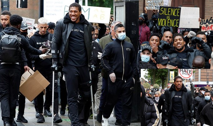 Anthony Joshua defies injury, attends #BlackLivesMatter in crutches (Photos/Video)