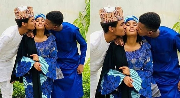 Muslim lady blasts Arewa triplets for kissing each other (Photo)