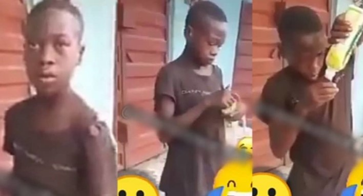 Boy who was starving gives emotional reply after being caught picking food from the dustbin (Video)