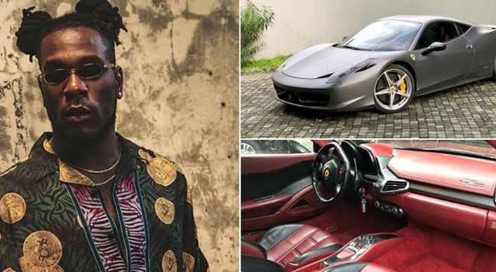 Burna Boy pulls up in Ferrari to bless 'area boys' with money (Video)