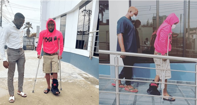 Photos: Davido spotted using crutches after sustaining injury