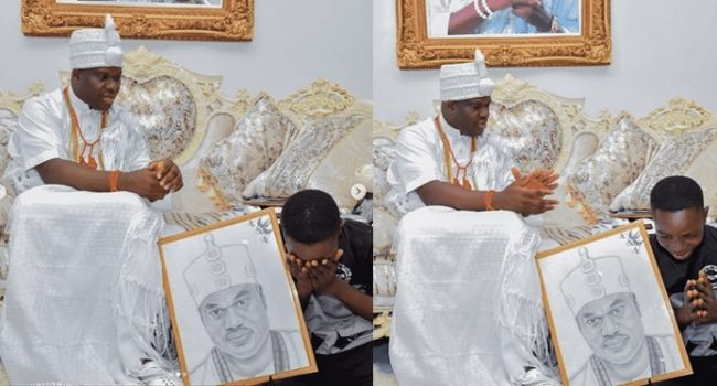 Ooni of Ife adopts son of corn seller who drew his portrait, gives him scholarship