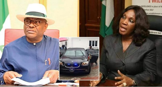 """Wike storms ex-NDDC MD, Joy Nunieh's home to """"rescue"""" her (Video)"""