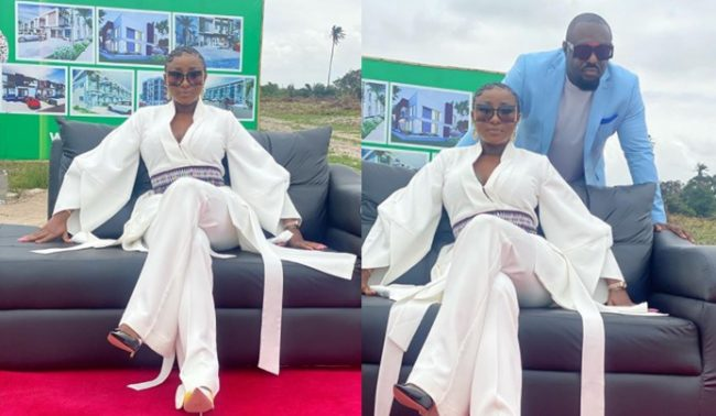 Ini Edo and Jim Iyke spotted shooting commercials for CNN (Photos/Video)
