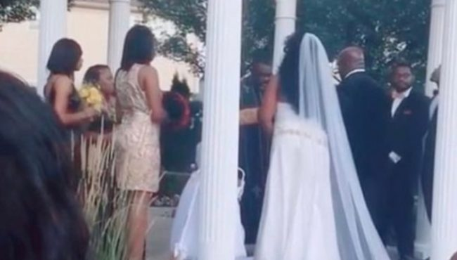 Confusion as pregnant woman crashes wedding claiming to be carrying the groom's child (Video)