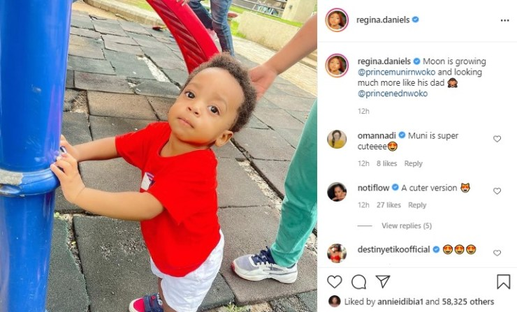 My son is starting to look too much like his dad – Regina Daniels laments