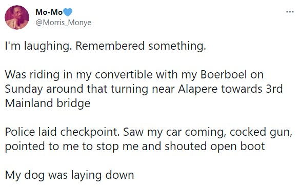 Nigerian man narrates how police officers that tried to harass him abandoned their checkpoint because of his dog