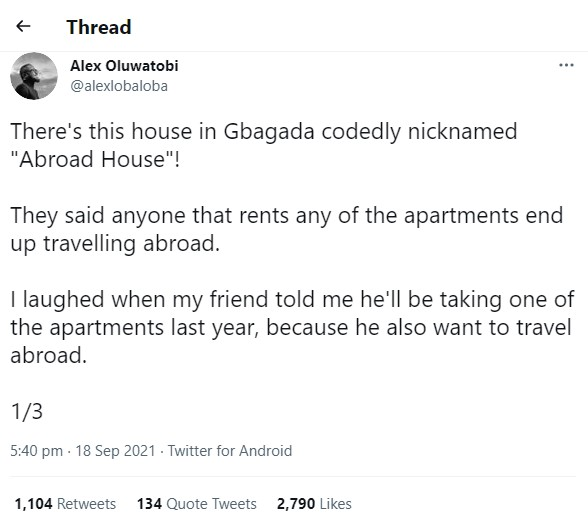 Man shares story of a 'special' building in Gbagada that houses people who end up travelling abroad