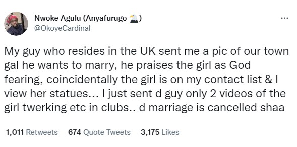 UK-based Nigerian man cancels marriage plans with 'God fearing' lady from his hometown after his friend sent him videos of her twerking in night clubs