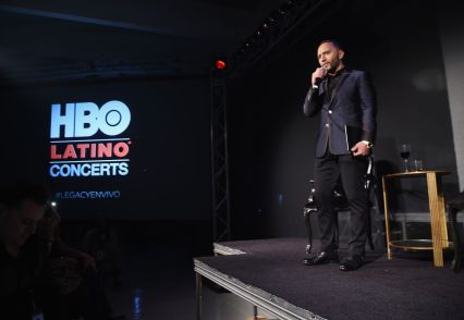 """Alex Sensation takes part in a Q&A during the HBO Latino red carpet premiere of the """"Camino Al Concierto and Legacy: De Lider a Leyenda"""" at Center 548 on April 7, 2015 in New York City. (Photo by Michael Loccisano/Getty Images for HBO)"""