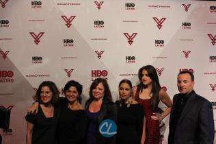 HBO Latino film programming VP Leslie Cohen, HBO Latino film programming senior VP Doris Casap, HBO Latino director of business affairs Rebecca Vazquez, HBO Latino multicultural marketing SVP Lucinda Martinez, and Sony Entertainment Business Development Manager Melissa Exposito, Ruben Leyva of Sony Music U.S. Latin