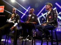 BURBANK, CA - MAY 11: Rapper Snoop Dogg, radio personality Big Boy and producer/Recording artist Pharrell Williams speak onstage during Snoop Dogg Live on the Honda Stage at iHeartRadio Theater on May 11, 2015 in Burbank, California. (Photo by Kevin Winter/Getty Images for iHeartMedia)