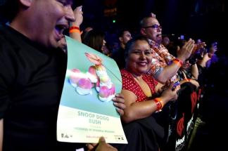 BURBANK, CA - MAY 11: Fans watch the performance from the audience during Snoop Dogg Live on the Honda Stage at iHeartRadio Theater on May 11, 2015 in Burbank, California. (Photo by Kevin Winter/Getty Images for iHeartMedia)