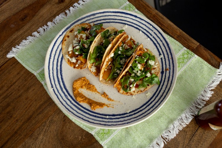 Chipotle Pipian Butternut Squash Tacos by Chef Bricia Lopez of Guelaguetza