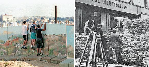 A sinistra, in Israele, la barriera a Gerusalemme (Contrasto); A destra, in Polonia, il muro del Ghetto di Varsavia costruito nel '40
