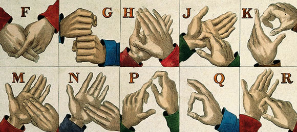 Alcune lettere dell'alfabeto manuale nella lingua dei segni britannica (Wellcome Images)