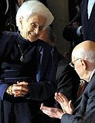 Rita Levi Montalcini con Napolitano (Ansa)