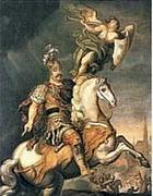 Il re di Polonia Jan Sobieski ritratto mentre guida i suoi ussari verso Vienna