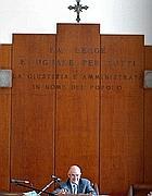 Luigi Tosti in aula (Ansa)