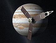 Un rendering del robot cosmico Juno con, sullo sfondo, Giove (Nasa)