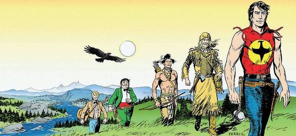 Una tavola con Zagor, eroe dei fumetti creato nel 1961 da Sergio Bonelli, con lo pseudonimo di Guido Nolitta, e dalle matite di Gallieno Ferri