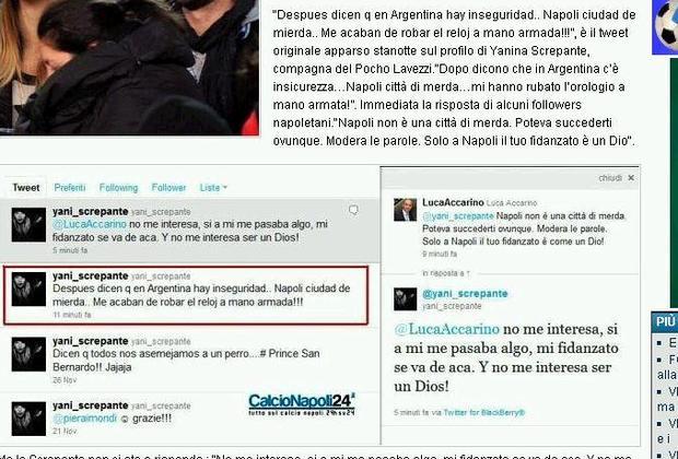 La foto dei tweet di Yanina Screpante dal sito CalcioNapoli 24