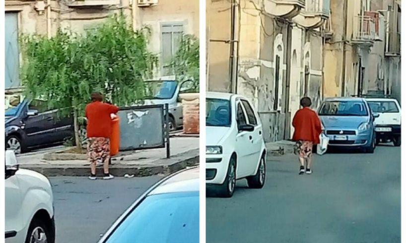 Adrano, i cestini portarifiuti utilizzati come mini-cassonetti: la denuncia di un lettore
