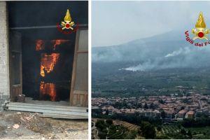 Catania, anche oggi lavoro straordinario per i Vigili del Fuoco: a Linguaglossa falegnameria in fiamme