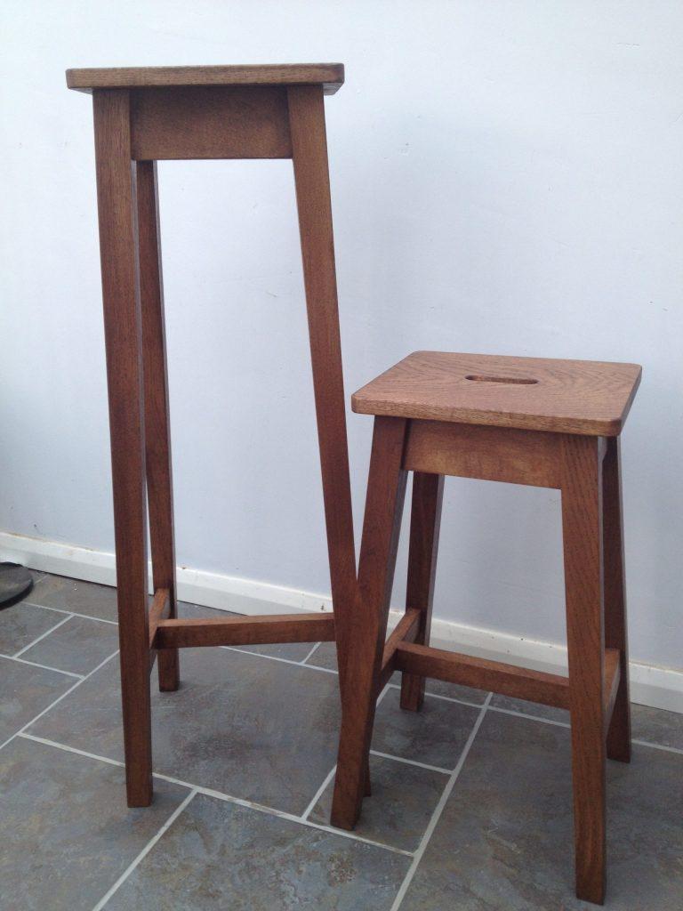 Little 'n large oak stools