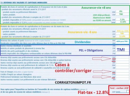 Les cases 2 de la déclaration d'impôt. Revenus de valeurs et capitaux mobiliers.